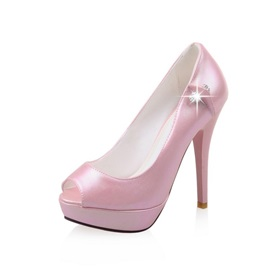 PU Peep-Toe Stiletto Heel Platform Pumps