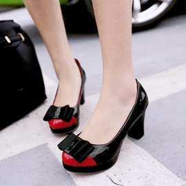 PU Bowknots Color Block Platform Pumps