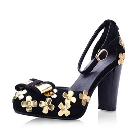 Bowknots Applique Chunky Heel Pumps
