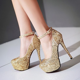 Chic Sequins Ankle Strap Prom Shoes