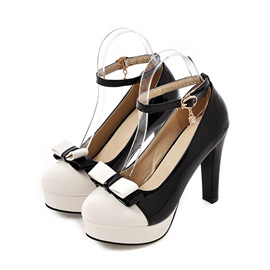Bowtie Contrast Color PU Platform Pumps