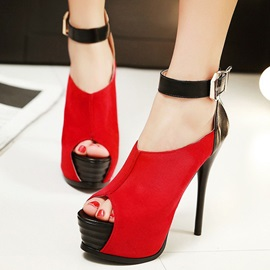 Contrast Color Peep-Toe Platform Stiletto Heels