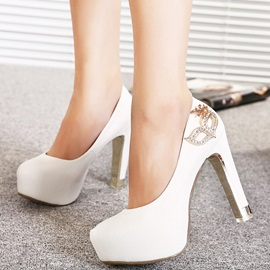 PU Slip-On Rhinestone Thread Women's Pumps