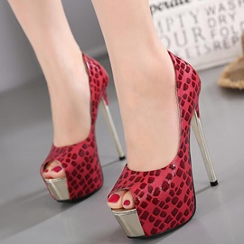 Printing Leather Slip-On Peep Toe Stiletto Heel Women
