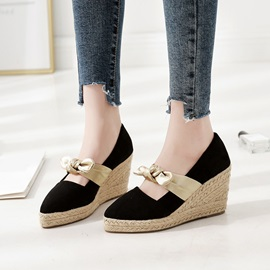Bow Pointed Toe Wedge Heel Women's Shoes