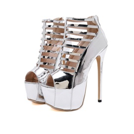 Stiletto Heel Peep Toe Zipper Platform Sandals