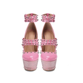 Round Toe Buckle Platform Customized Pumps