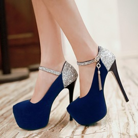 Round Toe Line-Style Buckle Sequin Banquet Thin Shoes