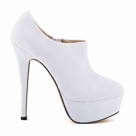 Platform Stiletto Heel Zipper Plain Thin Shoes