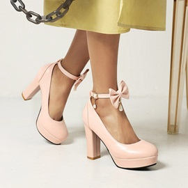 Round Toe Bow Buckle Professional Thin Shoes
