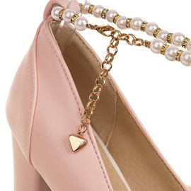 Round Toe Chain Chunky Heel Professional Thin Shoes