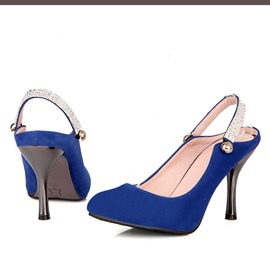 Solid Color Rhinestone Slingback Pumps