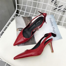 PU Bow Slip-On Slingback Pointed Toe Shoes