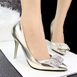 Leahter Multi Color Rhinestone Bowknot Pointed Toe Pumps