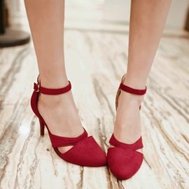 New Ankle Strap Decorated Cut-outs Stiletto Heels