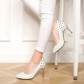 PU Pointed Toe with Rivets High Heel Pumps