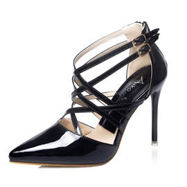 Pattern Pointed Toe Cross Strap Dress Shoes