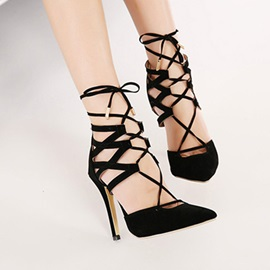 Black Pointed Toe Strappy Pumps