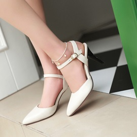 PU Solid Color Pointed Toe Line-Style Buckle Classic Pumps