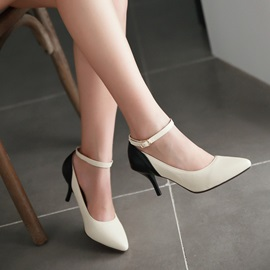 PU Line-Style Buckel Pointed Toe Ankle Strap Classic Pumps