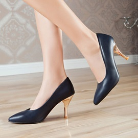 Pointed Toe PU Classic Pumps