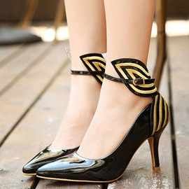 Butterfly Pointed Toe Ankle Strap Pumps
