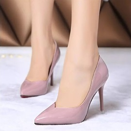 Solid Color Pointed Toe PU Classic Pumps