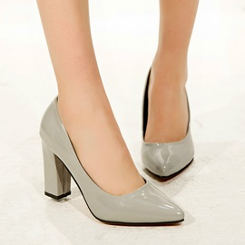 Solid Color Pointed Toe Chunky Heel Pumps