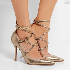 Metallic Strappy Pointed Toe Stiletto Heel Pumps