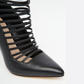 Black Pointed Toe Strappy Classic Pumps