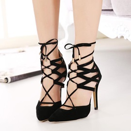 Strappy Pointed Toe Suede Stiletto Heel Sandals