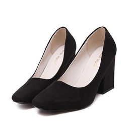 Solid Color Chunky Heel Classic Pumps
