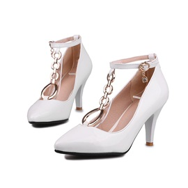 PU Metal Chain Ankle Strap Pumps