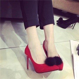 Pompom Pointed Toe Stiletto Heel Pumps