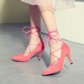 PU Suede Round Toe Lace-Up Pumps