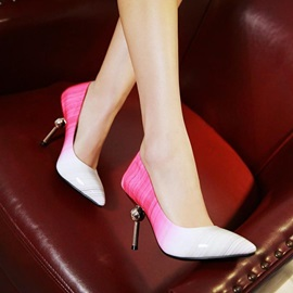 Striped Gradient Color Slip-On Classic Pumps