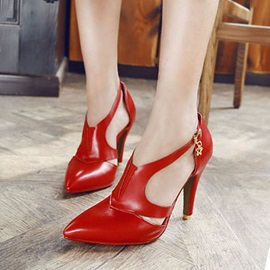 PU Pointed Toe Cut-Out Pumps