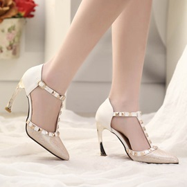Elegant Rivets Pointed Toe Pumps