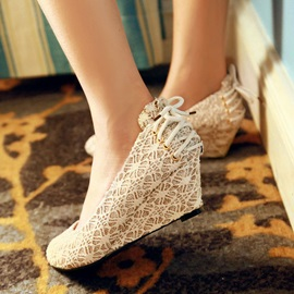 Sequins Round Toe Slip-On Wedges