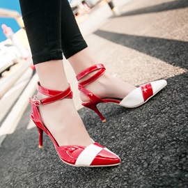 PU Color Block Pointed Toe Classic Pumps