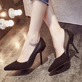 Suede Patchwork Pointed Toe Classic Pumps