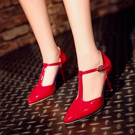 PU T-Strap Pointed Toe Classic Pumps