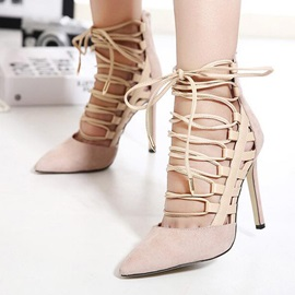 Solid Color Pointed Toe Lace-Up Sandals