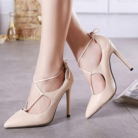 Pointed Toe PU Lace-Up Pumps