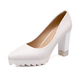 Solid Color Wedge Sole Chunky Heel Pumps