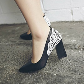 Color Block Pointed Toe Chunky Heel Pumps