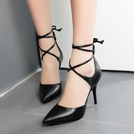 Covering Heel Pointed Toe Lace-Up Pumps