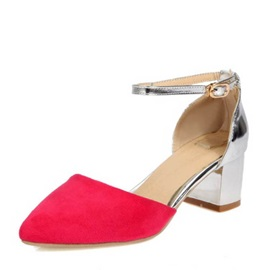 Suede Covering Heel Chunky Heel Pumps