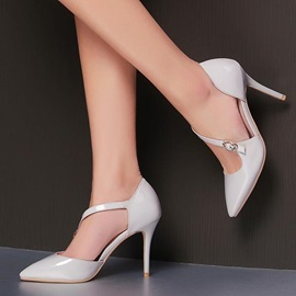 Solid Color PU Buckles Classic Pumps