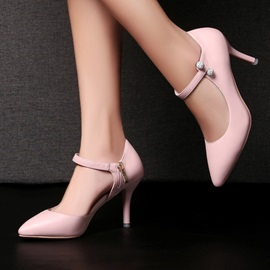 PU Pointed Toe Zippered Pumps